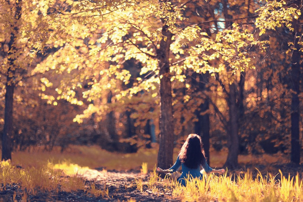 Autumn meditation nature girl forest