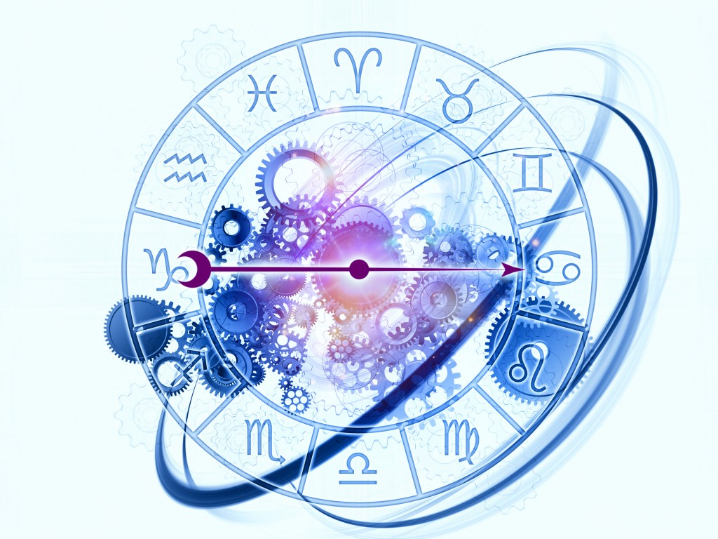 Background design of Zodiac symbols, gears, lights and abstract design elements on the subject of astrology, child birth, fate, destiny, future, prophecy, horoscope and occult beliefs