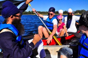 Banis in a Boat...see that lady in a white turban in the rear?  That's Ajeet!