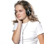 woman beauty with headphones