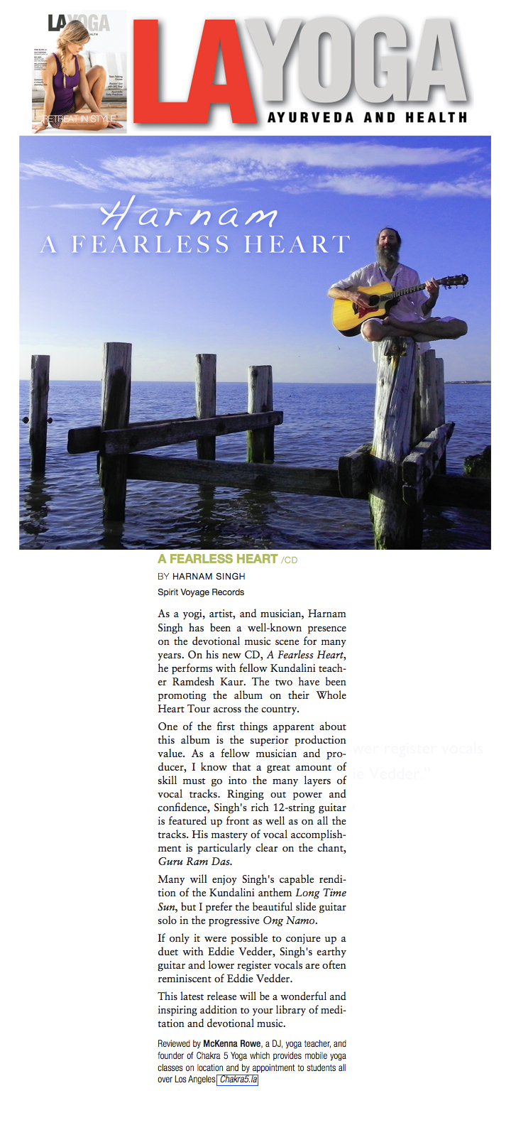 Harnam's A Fearless Heart Reviewed in LA Yoga!
