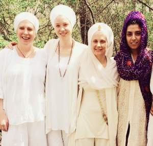 Ajeet, second from left, with Snatam Kaur and her band