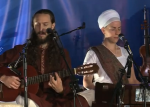 "Sat Nam Fest Video!  Ram Dass and Nirinjan Sing ""Namo Namo (Sat Nam)"""
